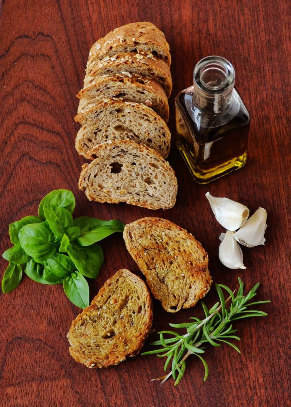green leaf rosemary plants olive oil kitchen garlic bread toast food