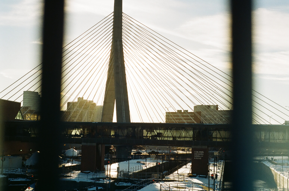 bridge abstract city angle architecture structure modern cable lines tower sky clouds travel street lights flare