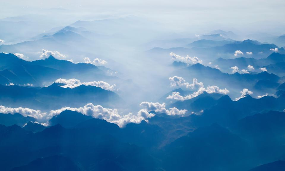 snow mountain clouds aerial blue nature fog landscape view