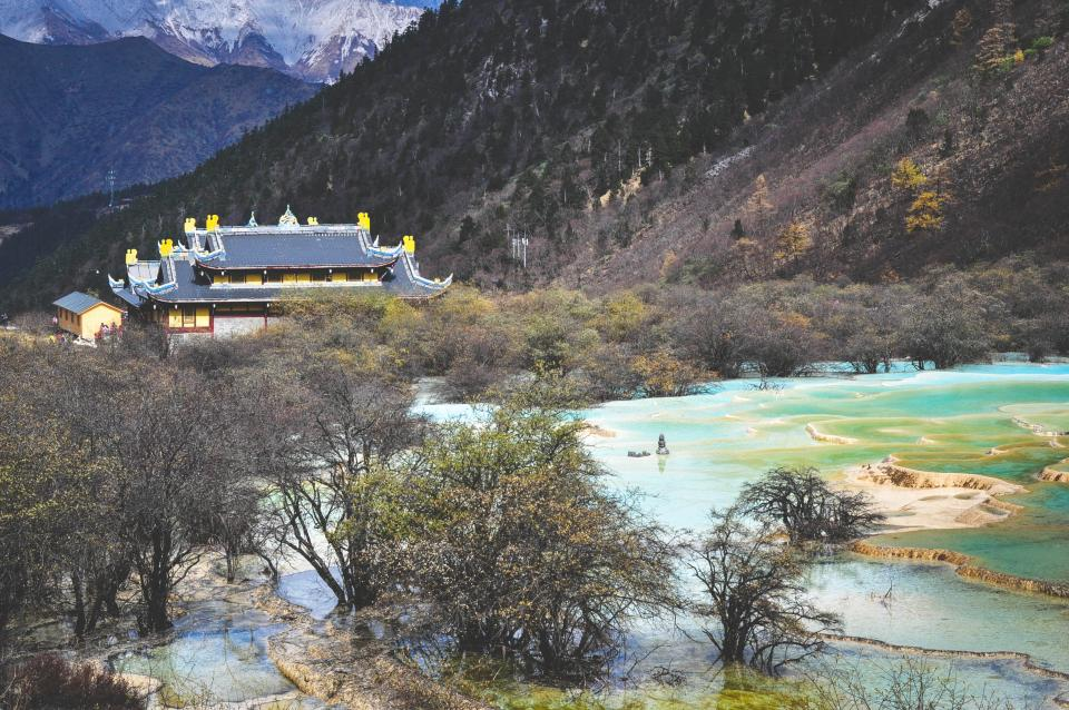 landscape nature mountains hills trees water temple culture Huang Long Sichuan China