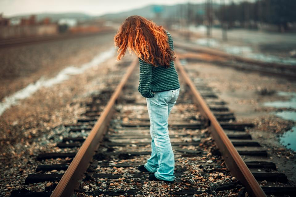 people girl woman alone railway track outdoor