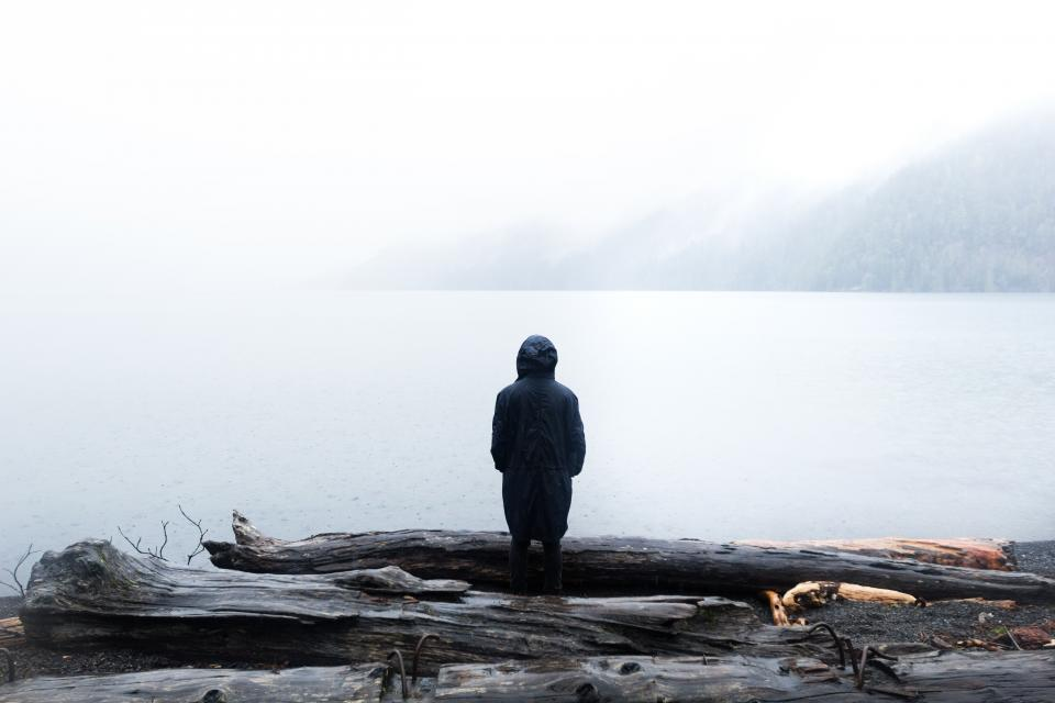 guy man male people back contemplate mountains logs water coast shore outdoors hood coat fog travel white