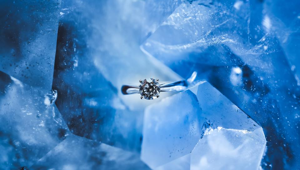 blue crystal stone nature diamond ring fashion luxury