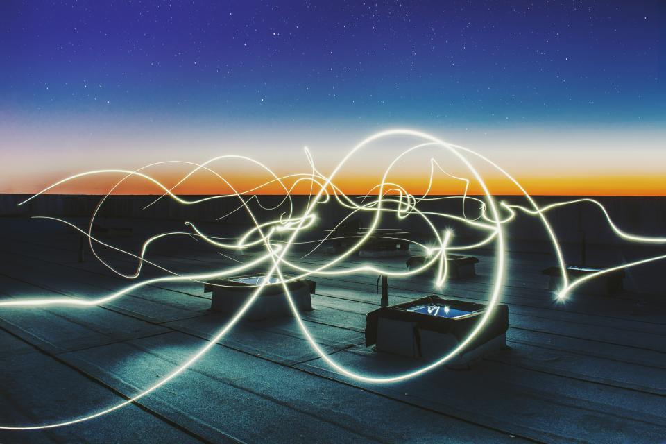 long exposure photography dark night lights roof deck clouds sky star