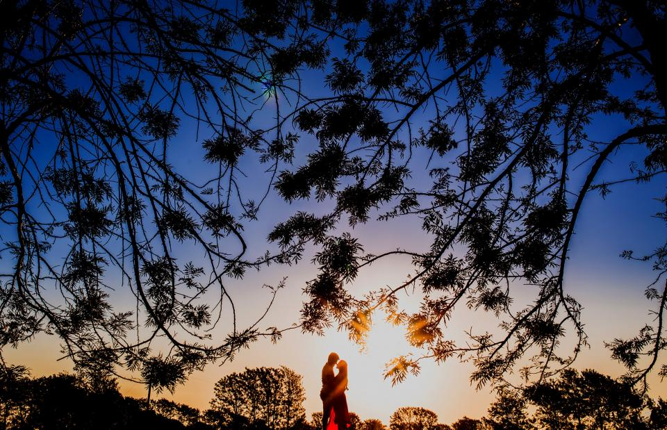 silhouette sunny sun sunrise sunset couple sweet trees leaves grass nature people guy girl love