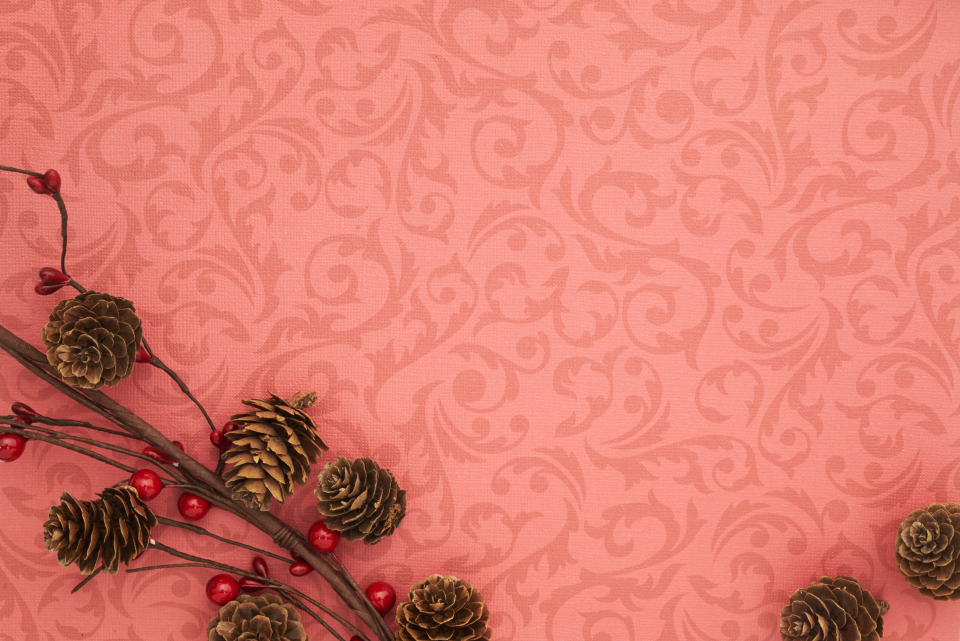 seasonal backgrounds christmas flat lay branches festive copyspace holiday red merry xmas background pine cone berry