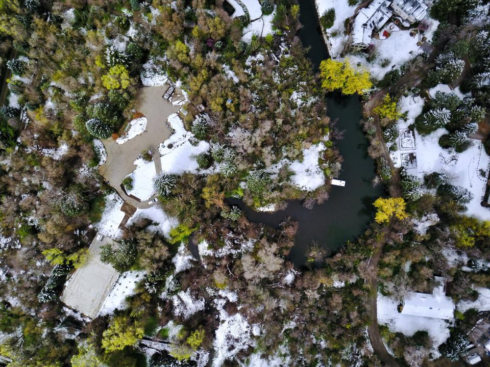 green plants trees aerial view river water snow winter house village