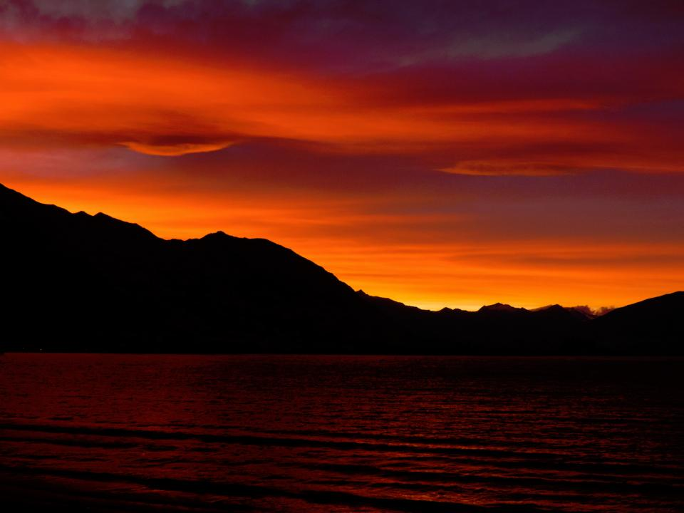 nature water mountains sunset sky