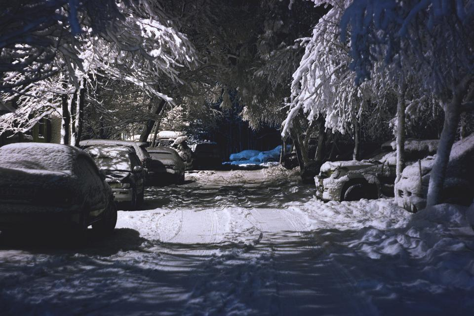 winter snow cold weather trees forest woods travel adventure vacation rocks car vehicle transportation
