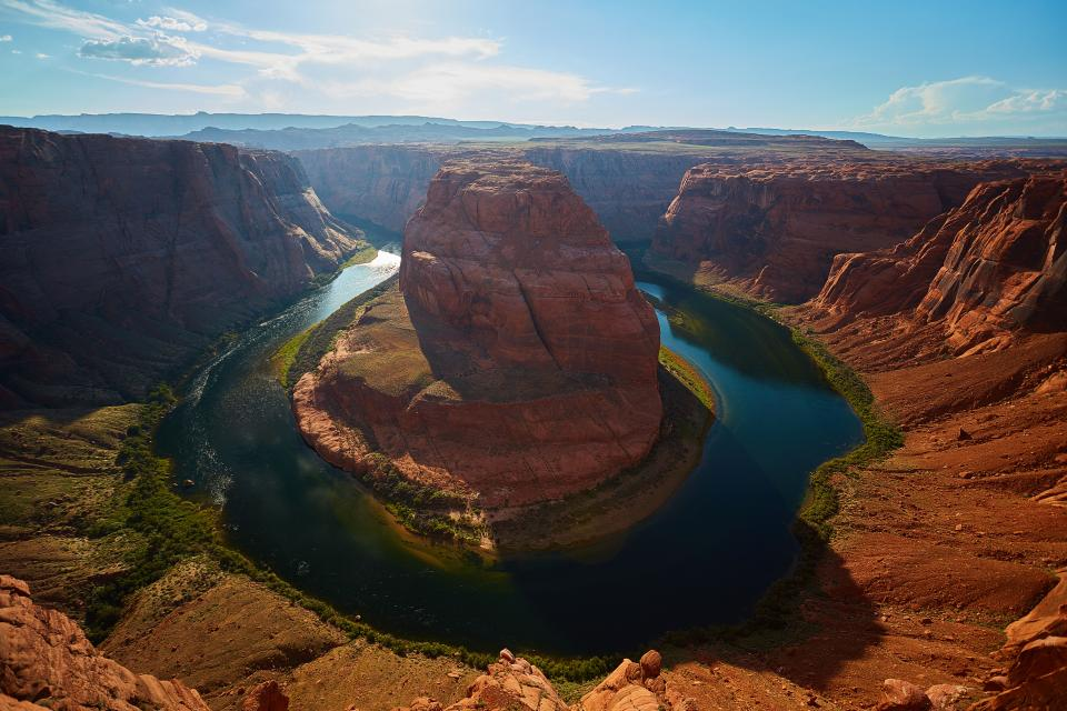 horseshoe bend river water landscape view nature blue sky travel adventure outdoor