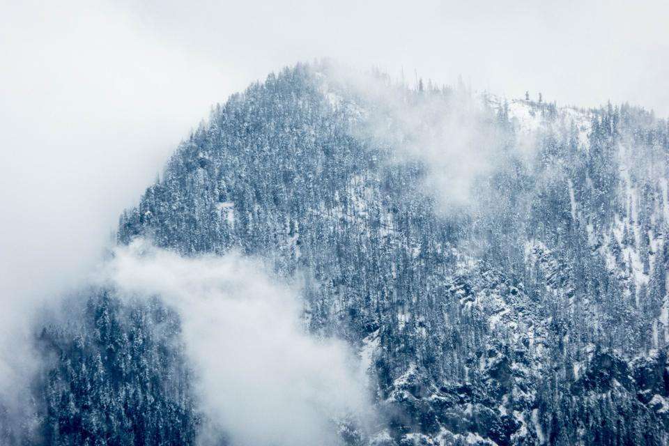 mountain highland cloud sky summit ridge landscape nature valley hill snow winter view travel trees fog