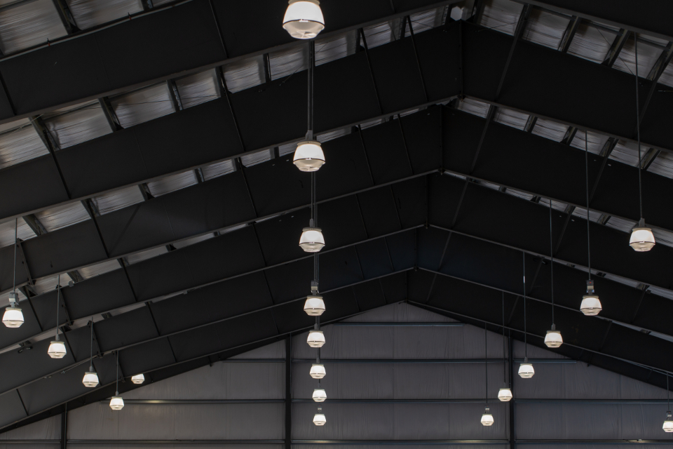 building ceiling abstract interior light design metal industrial construction beams architecture indoor pattern monochromatic