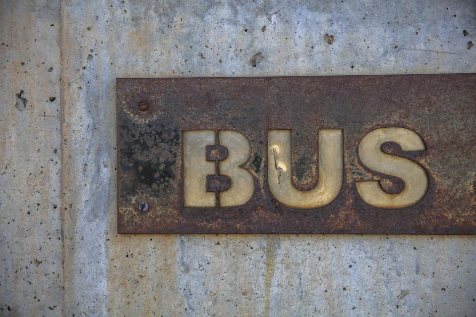 wall metal steel bus street naming