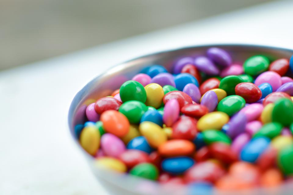 m&ms chocolate candy colours colors bowl food