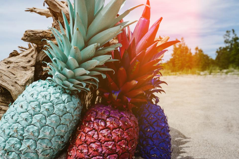 pineapple dessert appetizer fruit juice crop paint red blue green
