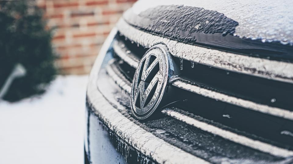 volkswagon vw car snow winter ice cold blue grille