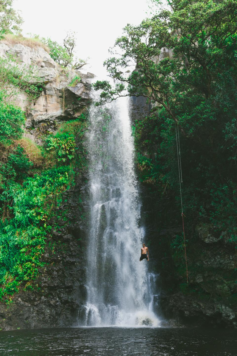 waterfall green grass moss tree plant nature water people man swimming diving adventure outdoor