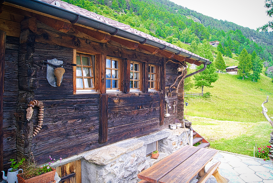 chalet wood mountain nature swiss spring warm nature travel log cabin wood tree bench