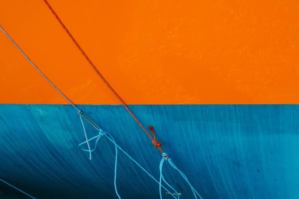 contrast rope paint orange blue
