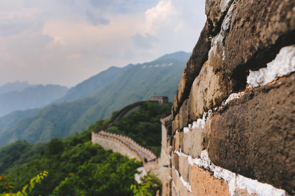 great wall china tourist destination spot tour mountain nature outdoor travel clouds sky landscape view highland