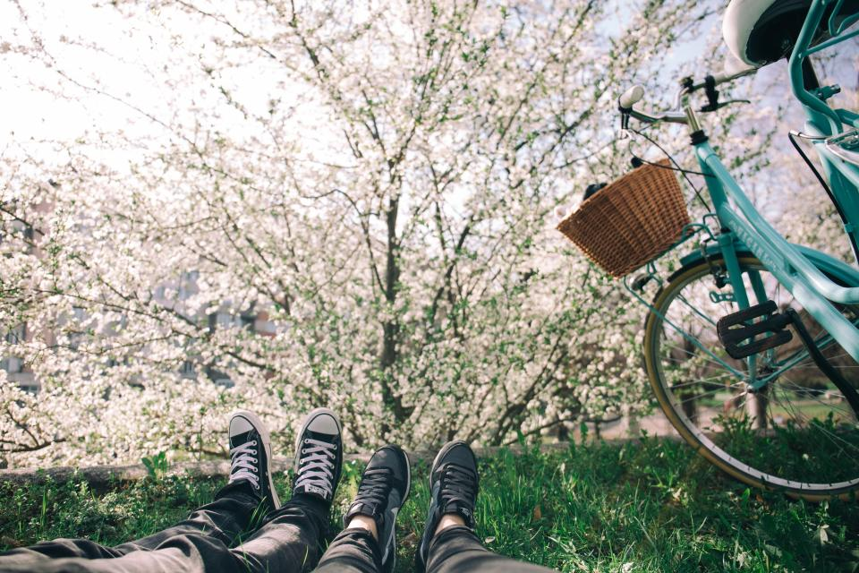 shoes sneakers feet grass lawn lying down bicycle basket trees leaves branches nature outdoors sunshine people