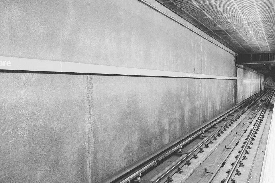 subway station transportation urban black and white