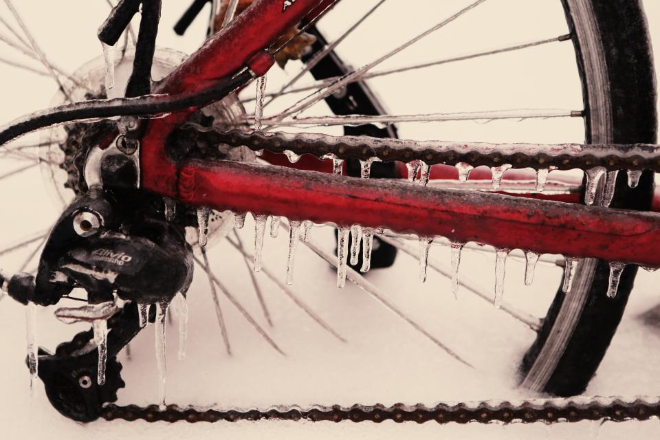 bicycle frozen ice bike wheel chain cold winter freezing