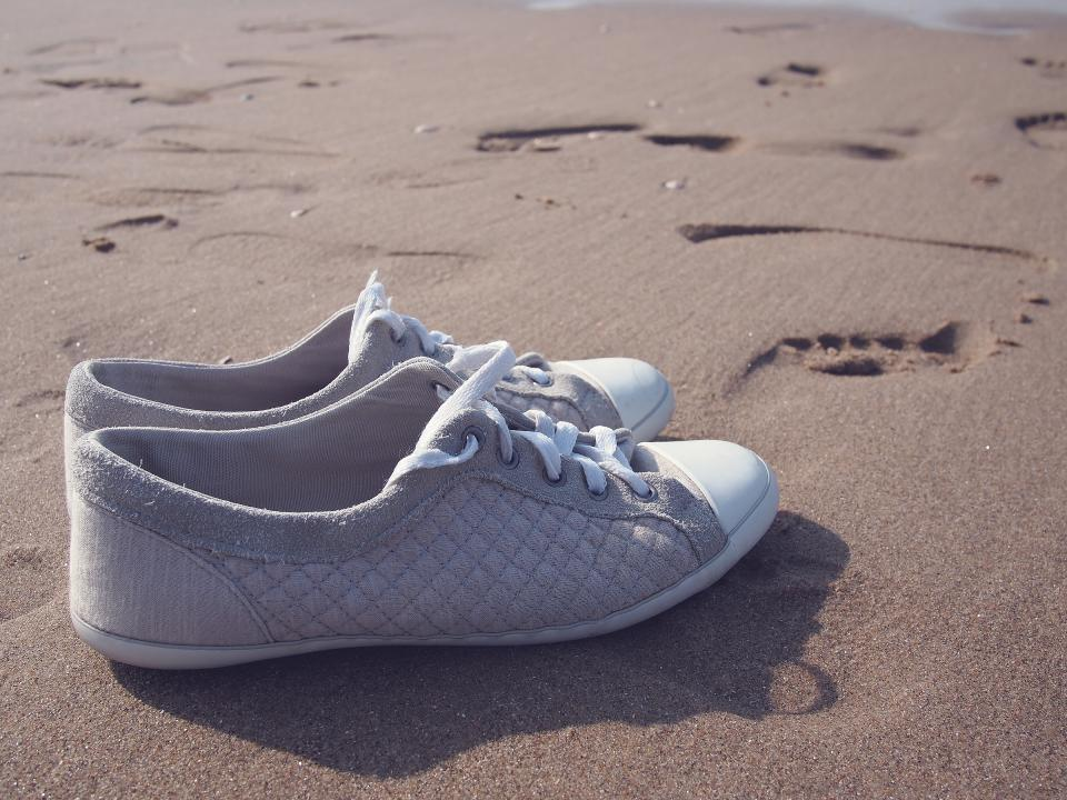 shoes sneakers beach sand