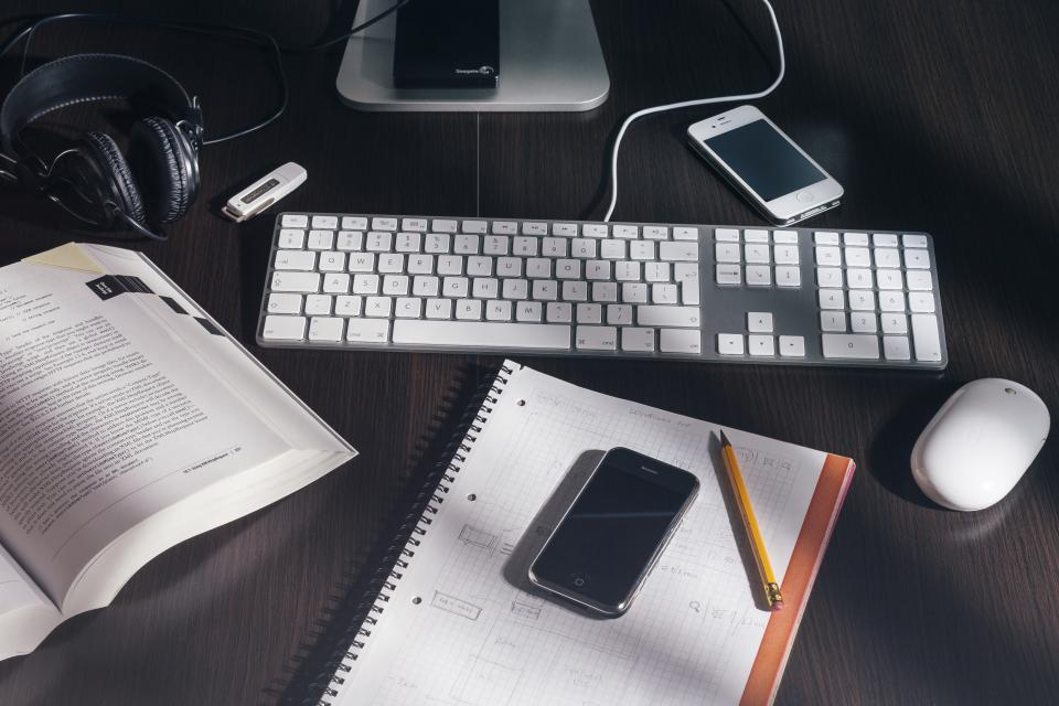 notebook notepad pencil iphone smartphone cell phone mobile technology objects mouse keyboard book office desk business headphones work