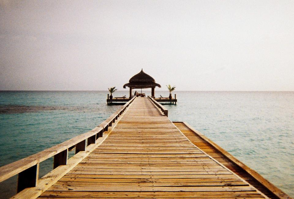 sky water pier wood tropical gazebo ocean sea