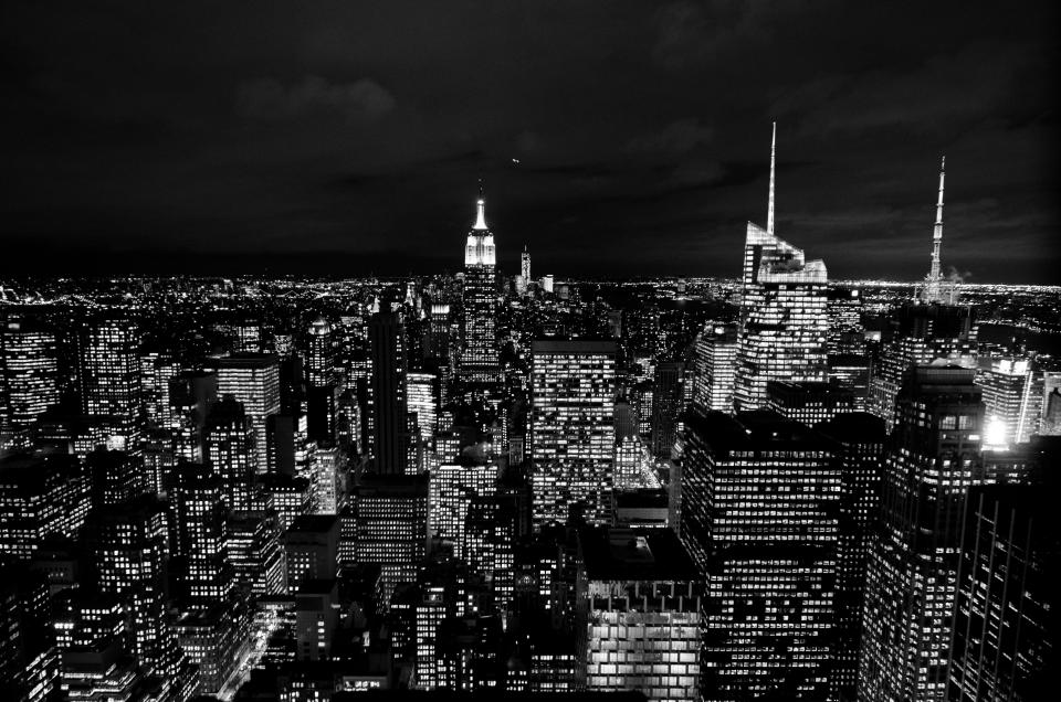 new york city dark night lights usa united states buildings towers skyscrapers rooftops skyline evening