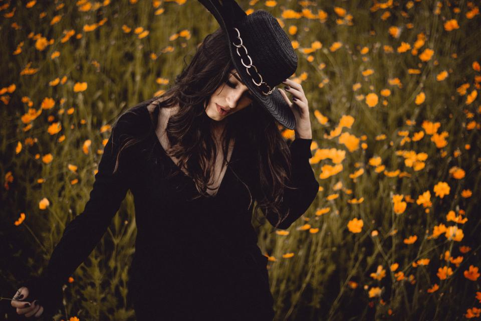 woman girl guy black hat fashion model clothing flowers nature outdoor beautiful