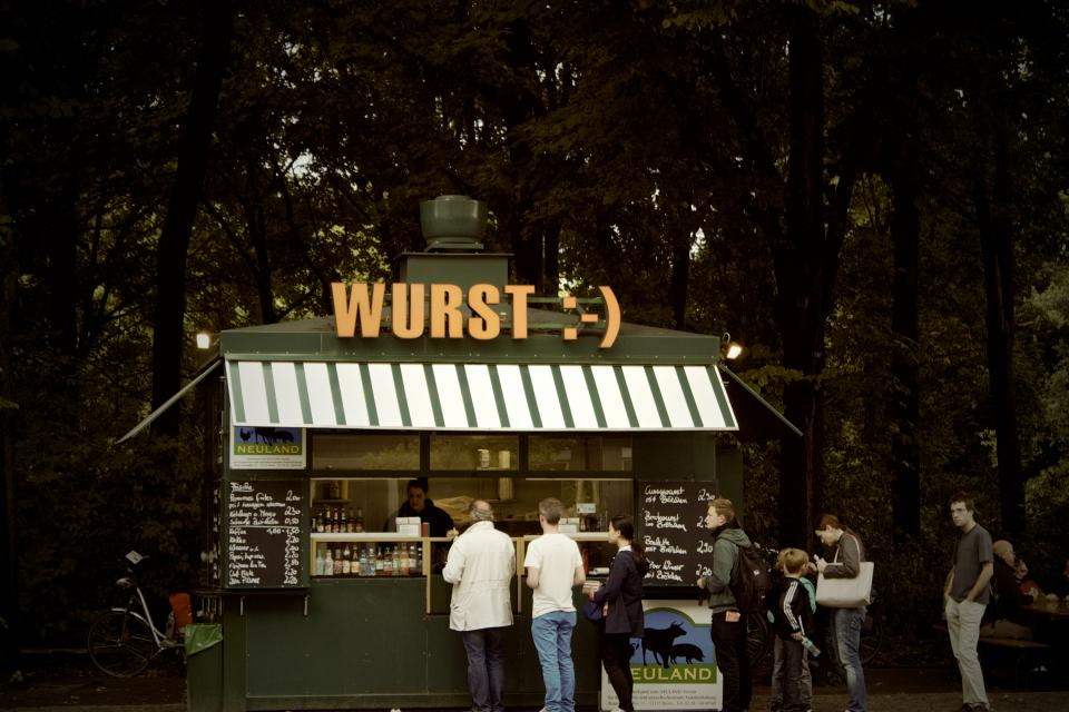 wurst sausage food stand restaurant menu people German Berlin