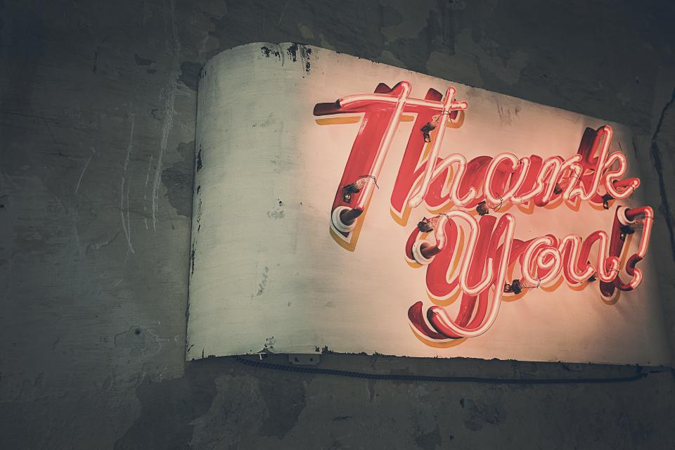 thank you sign wall neon light