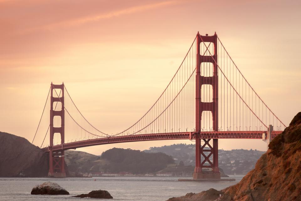 sunset sky golden gate bridge suspension architecture san francisco usa united states red city water mountains