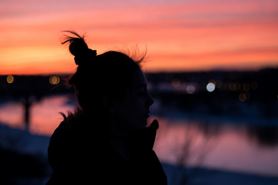 people woman shadow silhouette bun sunset dark alone