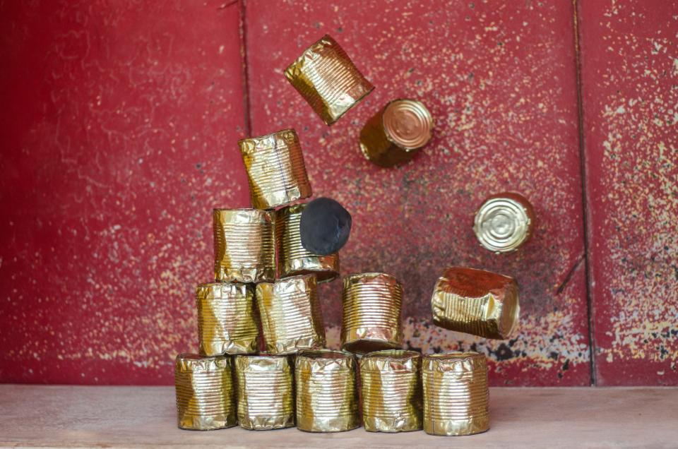 tin cans objects falling
