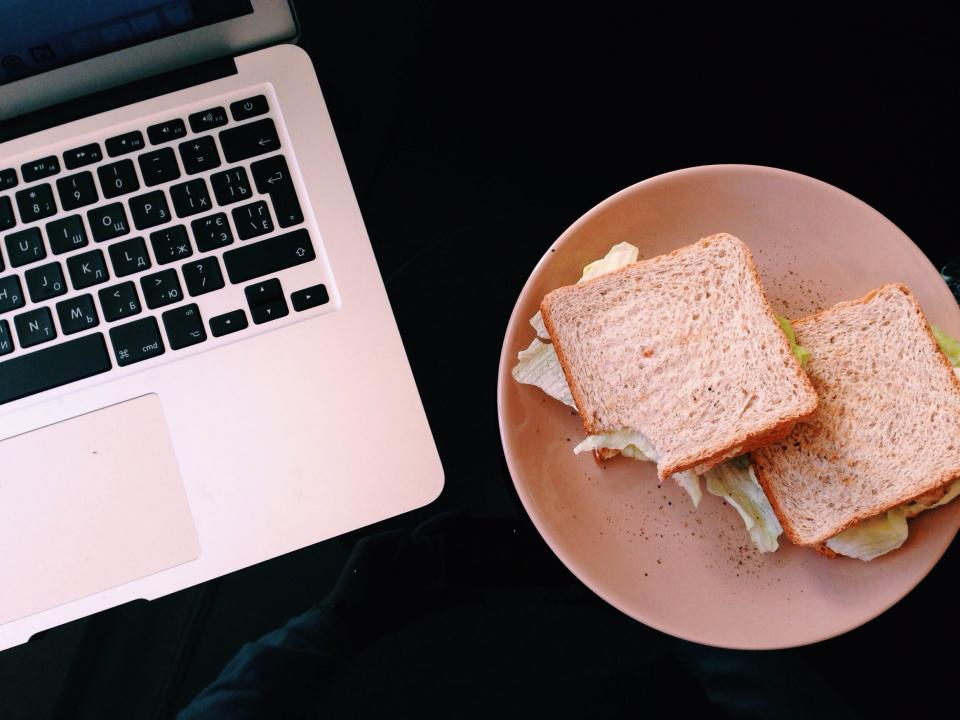 macbook lunch sandwich food plate computer laptop technology business