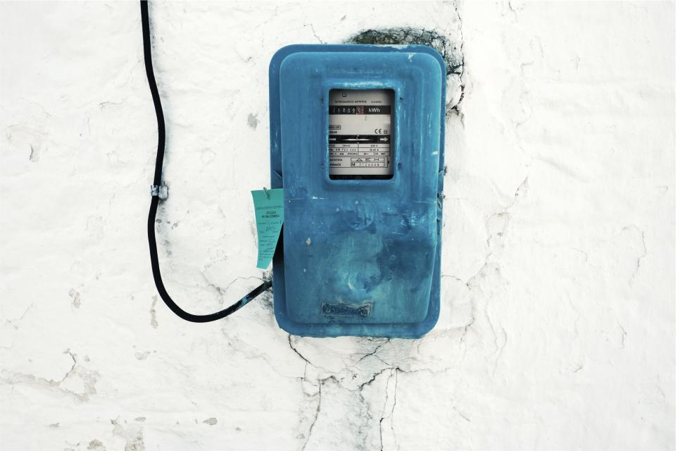 hydro meter electricity blue box wire wall
