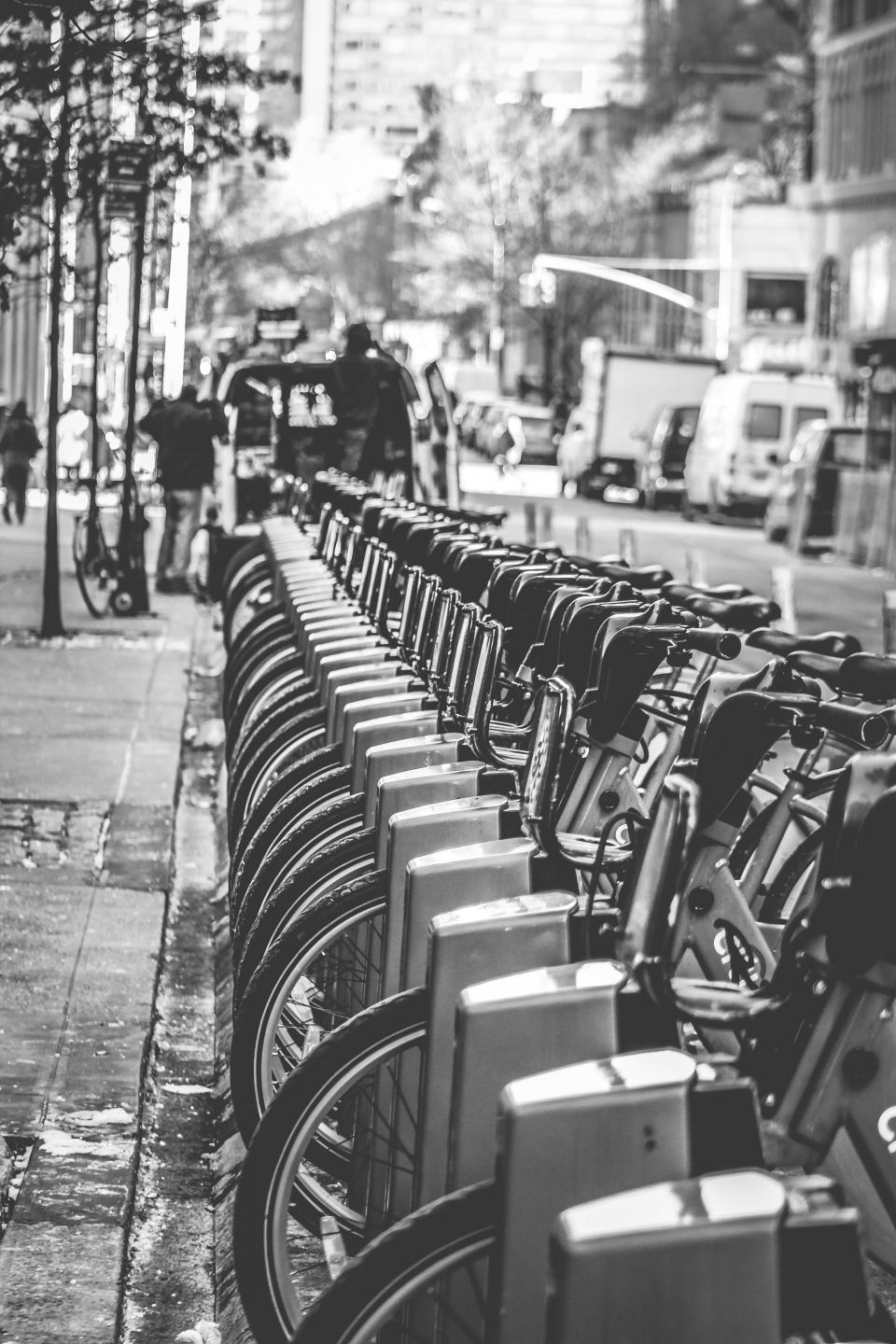 bikes bicycles city streets black and white NYC New York