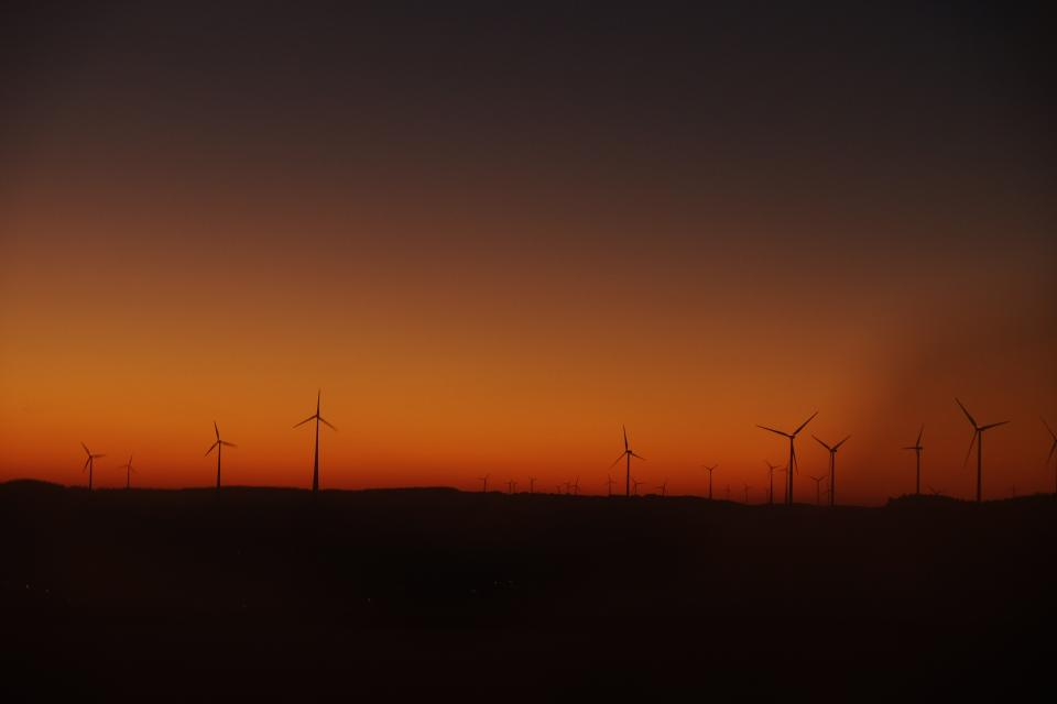sunset landscape dark night windmill energy wind