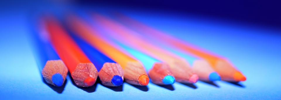 colors pencils art materials blue red orange pink