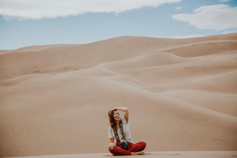 desert landscape highland mountain sky cloud people girl alone travel