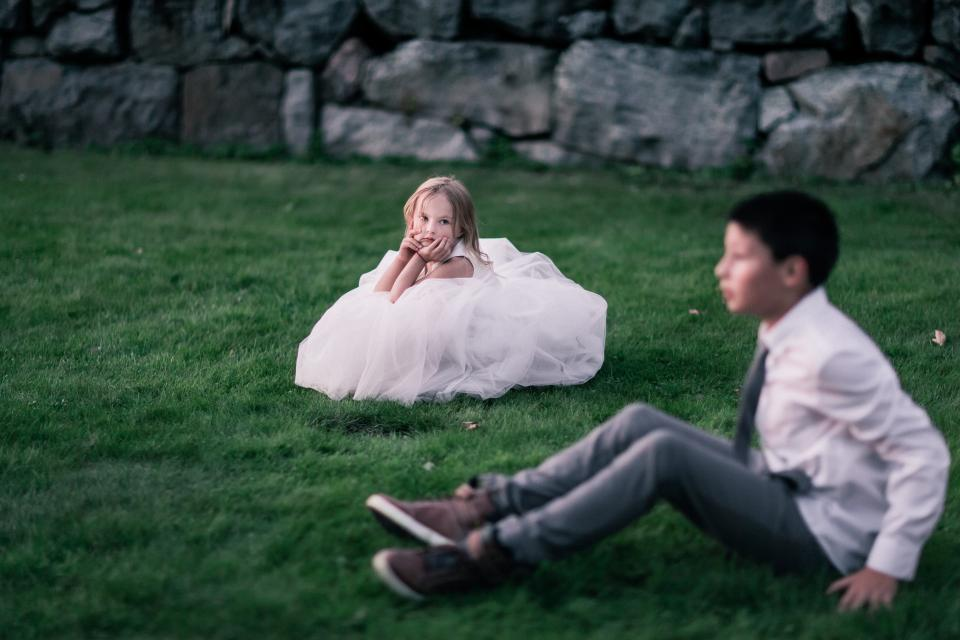 kids child boy girl people photoshoot formal grass picture vignette white gown cute