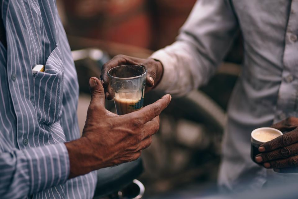 people men hand drinks glass coffee