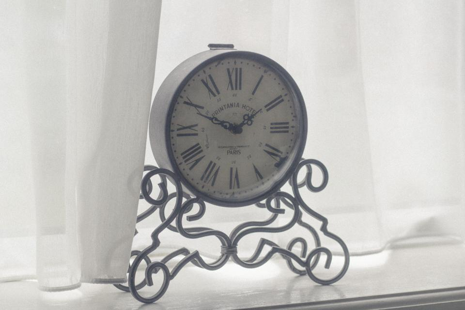 clock time decor white curtains