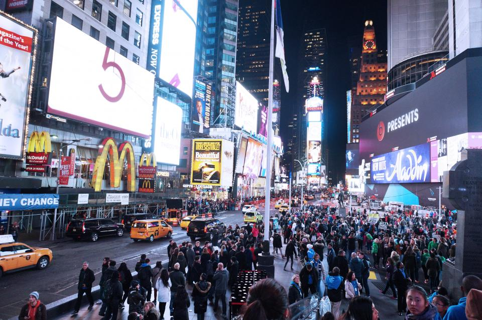 NYC TimesSquare City Lights people billboards america crowd busy pedestrians buildings