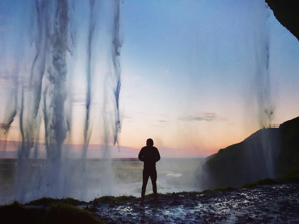 waterfall sky hill mountain highland landscape nature people man alone silhouette sunset