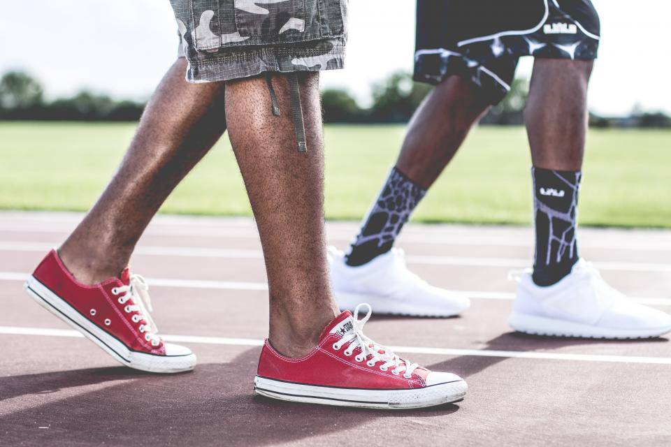 converse sneakers shoes guys people shorts track athletes fitness outdoors urban black african american