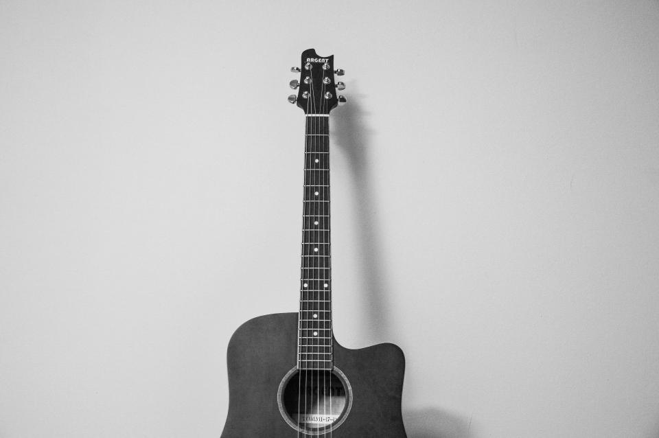 guitar music instrument black and white
